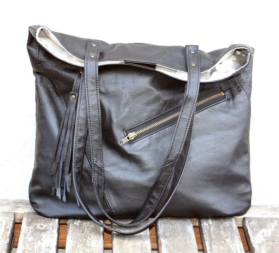 Black Leather City Bag