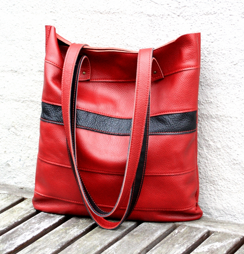 Red bag from a couch leather