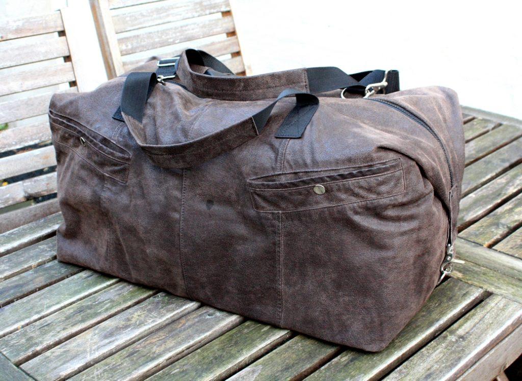 A brown travel bag