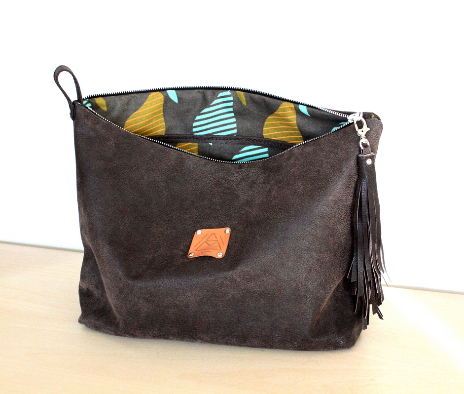 Brown cosmetic pouch