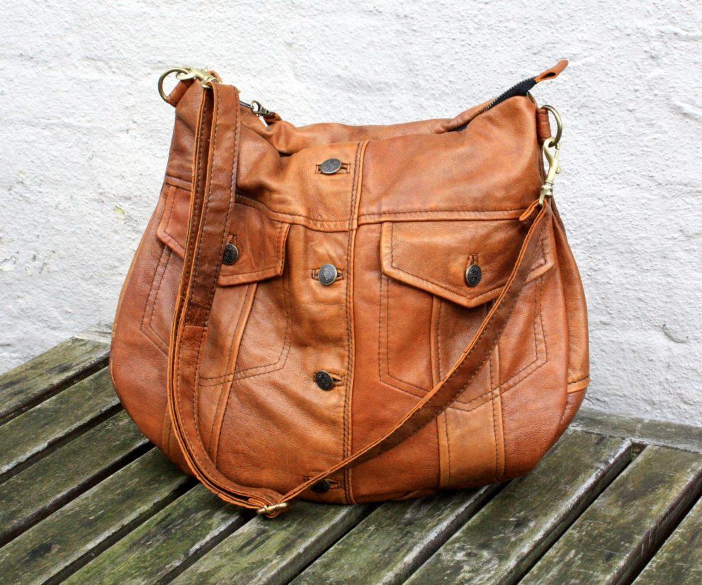 Brown soft lamb leather bag