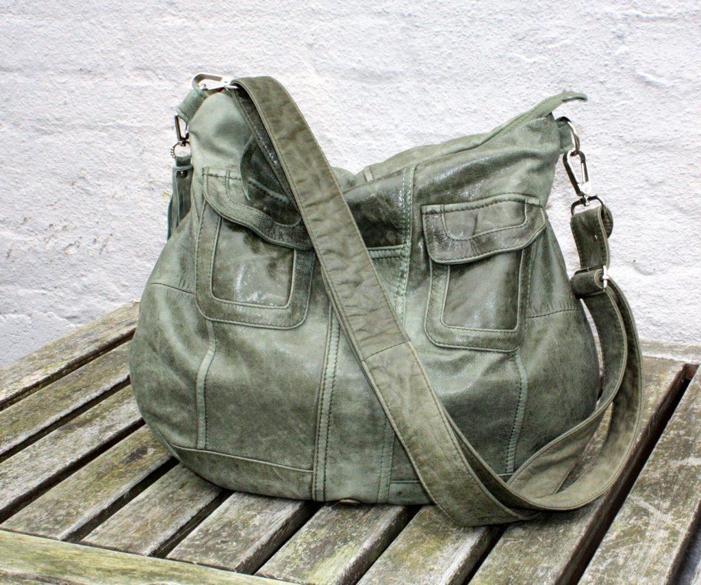The green shoulder bag