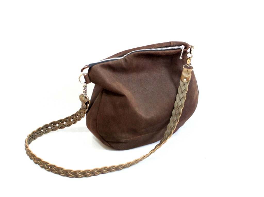 Chocolate brown suede bag with braided strap