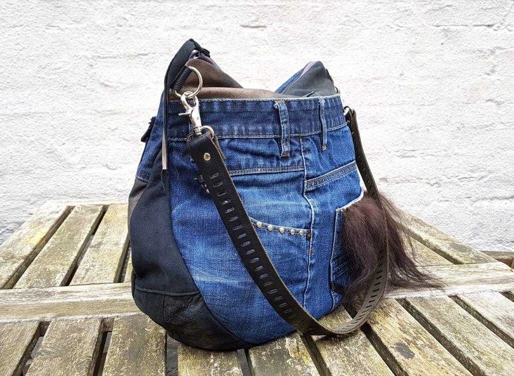 Denim/leather bag