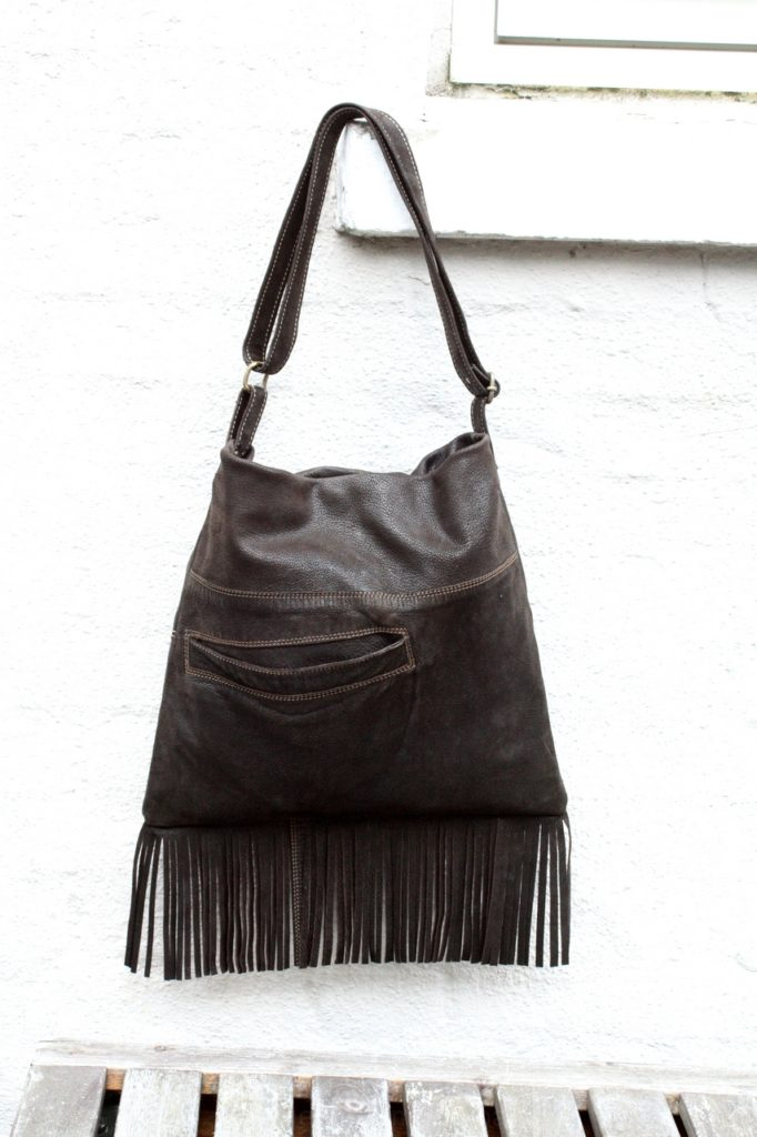 Soft brown nubuck fringe bag