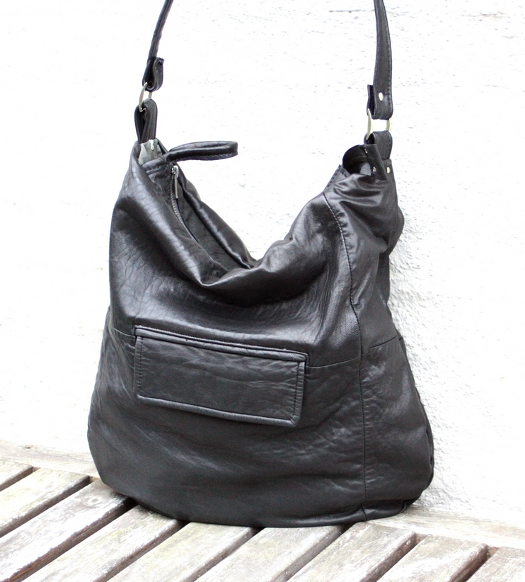 Black, soft like a butter, lamb leather city bag.