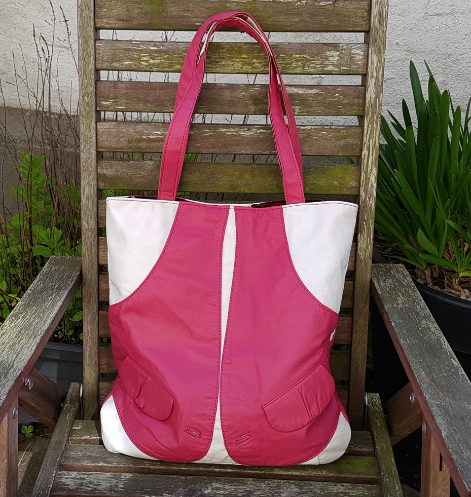 Pink and white shopper