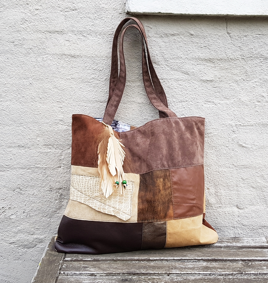 Brown patchwork shopper